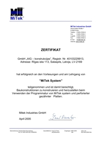 Certificate of NP construction design.