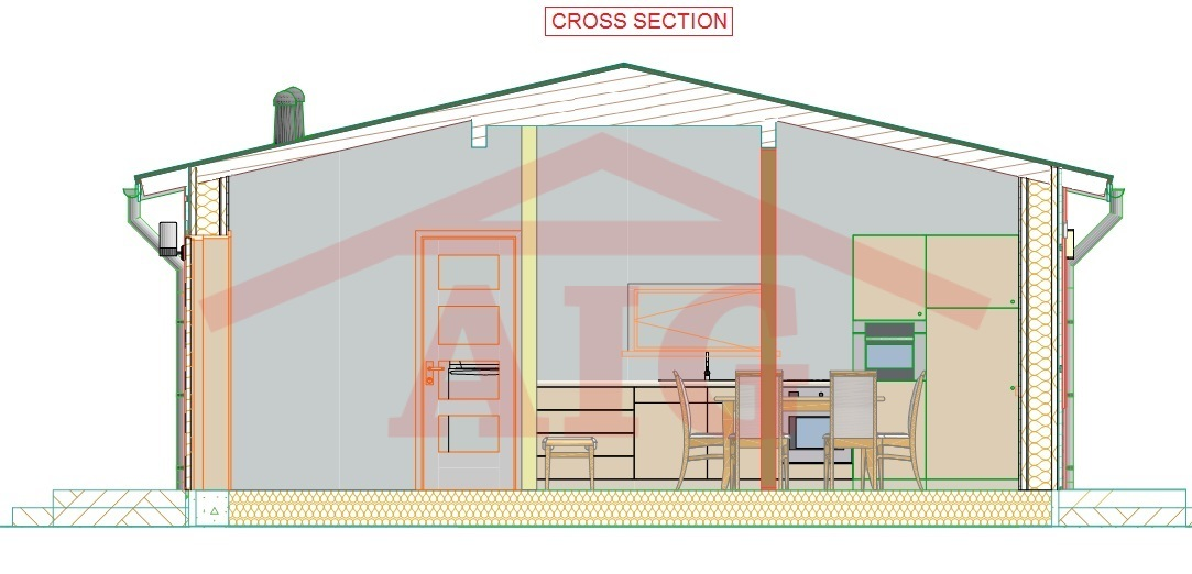 Prefab house cross section.